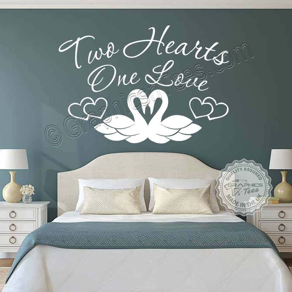 Two Hearts One Love Bedroom Wall Stickers Quote Swans Vinyl Decor Decals