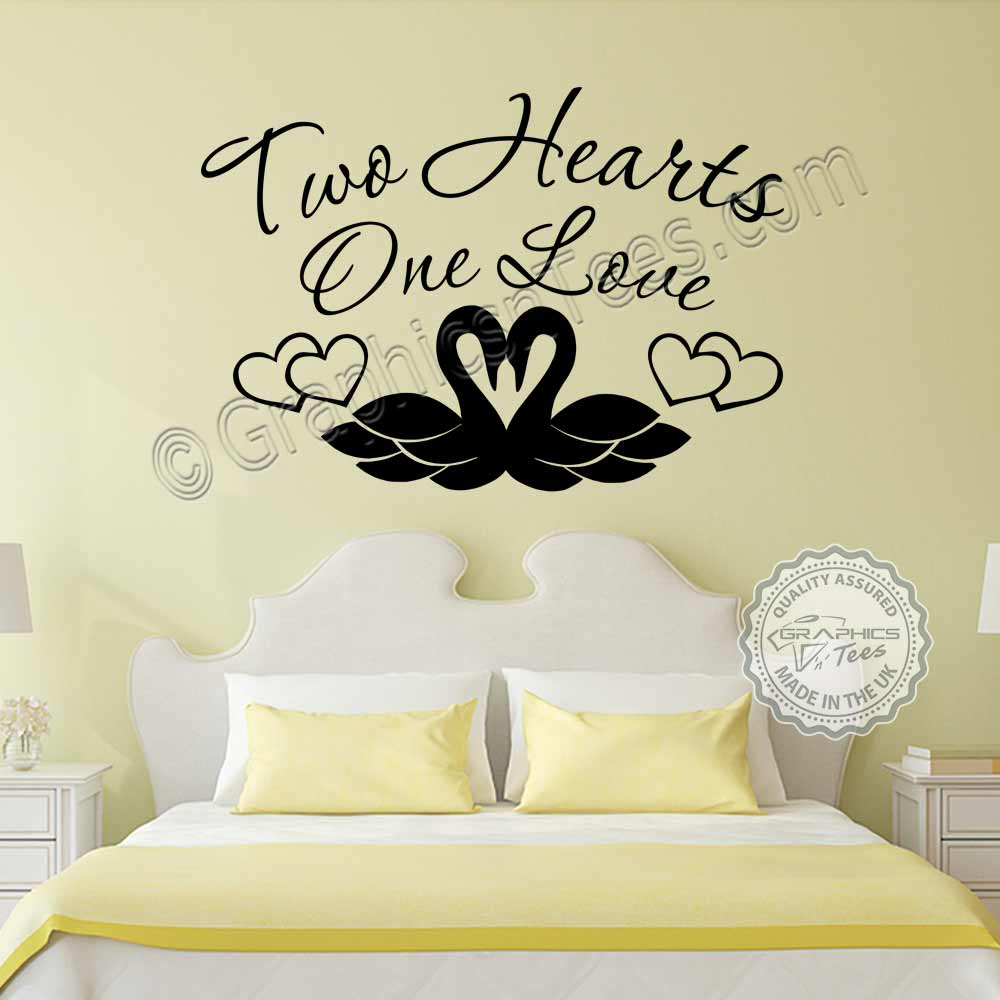 Two Hearts One Love Romantic Bedroom Wall Stickers Love Quote Swans Vinyl Decor Decals  sc 1 st  Graphics u0027nu0027 Tees & Two Hearts One Love Romantic Bedroom Wall Stickers Love Quote Swans ...