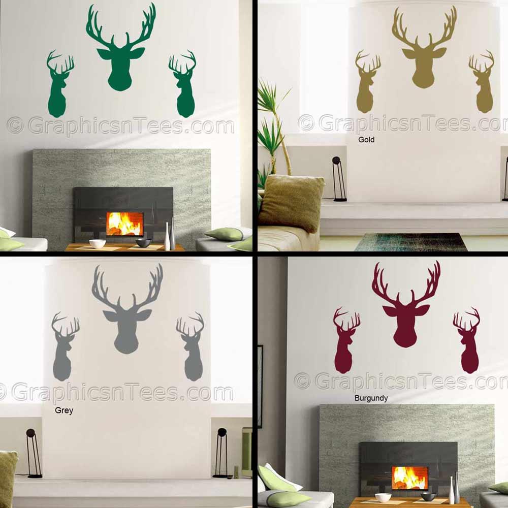 3 X Elegant Stags Head Wall Sticker, Home Wall Mural Decor