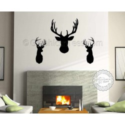 3 x Elegant Stags Head Wall Sticker, Home Wall Mural Decor Decal