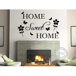 Home Sweet Home Family Wall Sticker Quote Vinyl Mural Decor Decal  with Flowers and Butterflies