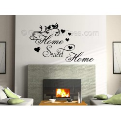 Home Sweet Home Wall Sticker Vinyl Mural Decal with Birds and Hearts