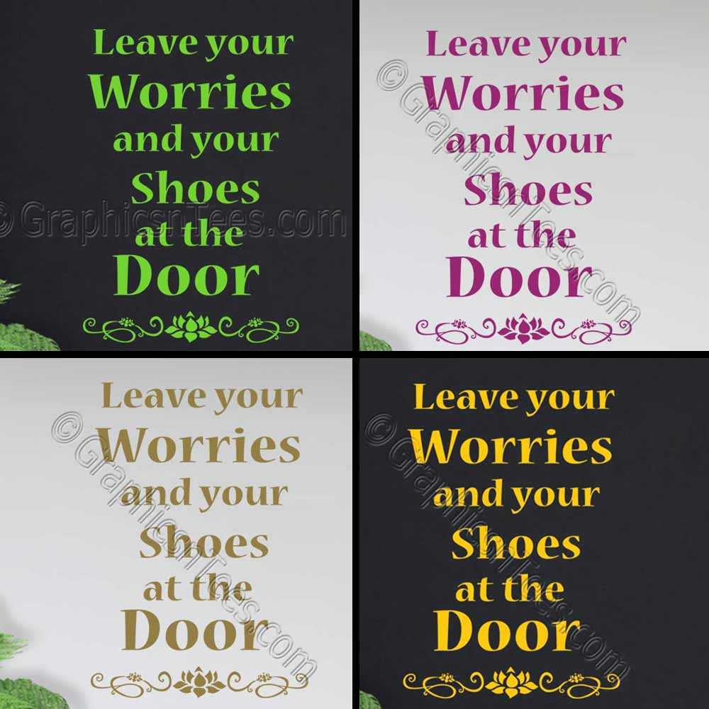 sc 1 st  Graphics u0027nu0027 Tees & Leave Your Shoes Worries at the Door Yoga Studio Entrance Wall Stickers