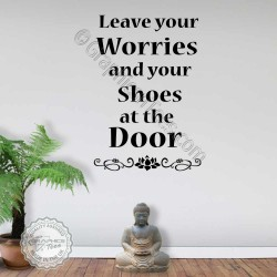 Leave Your Shoes Worries at the Door Yoga Studio Entrance Wall Stickers