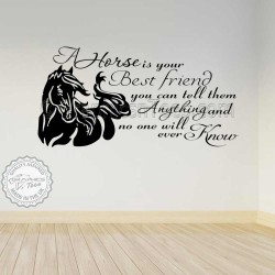 Horse Wall Sticker A Horse is Your Best Friend Quote Equestrian Vinyl Mural Decor Decal