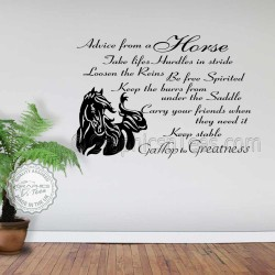 Horse Wall Stickers, Advice From A Horse Quote Vinyl Mural Decor Decal