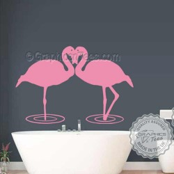 Kissing Flamingo Wall Sticker, Home Living Room Bathroom Wall Mural Decor Decals