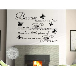 Because Someone We Love Is In Heaven, Inspirational Family Wall Sticker Quote Decor Decal