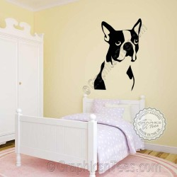Boston Terrier Dog Wall Sticker, Home Mural Vinyl Wall Art Decor Decal