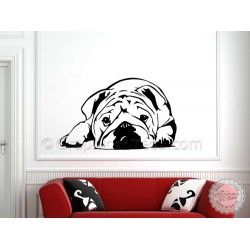 Cute British Bulldog Puppy, English Bulldog, Wall Sticker, Vinyl Mural Decal
