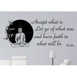 Buddha Quote,  Inspirational Wall Sticker, Accept What Is - 02