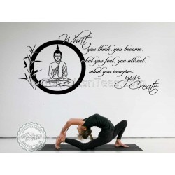 Buddha Inspirational Quote, What You Think You Become, Motivational Wall Mural Sticker Decor Decal