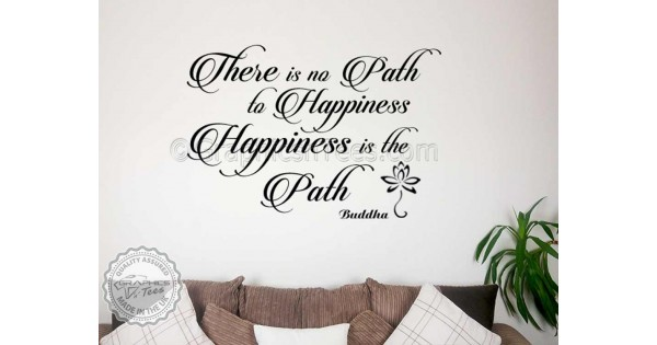 Buddha Inspirational Quote, Happiness Is The Path, Motivational Wall Sticker  Decor Decal With Lotus Flower