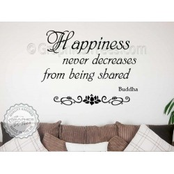 Buddha Inspirational Quote, Happiness Shared Never Decreases, Motivational Wall Sticker Decor Decal