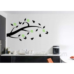 Tree Branch with Flowers and Butterflies, Home  Wall Art Mural Sticker Decals
