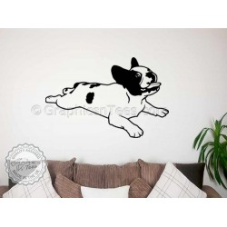 Cute French Bulldog Puppy,  Chewing a Bone, Home  Wall Sticker, Vinyl Mural Decal
