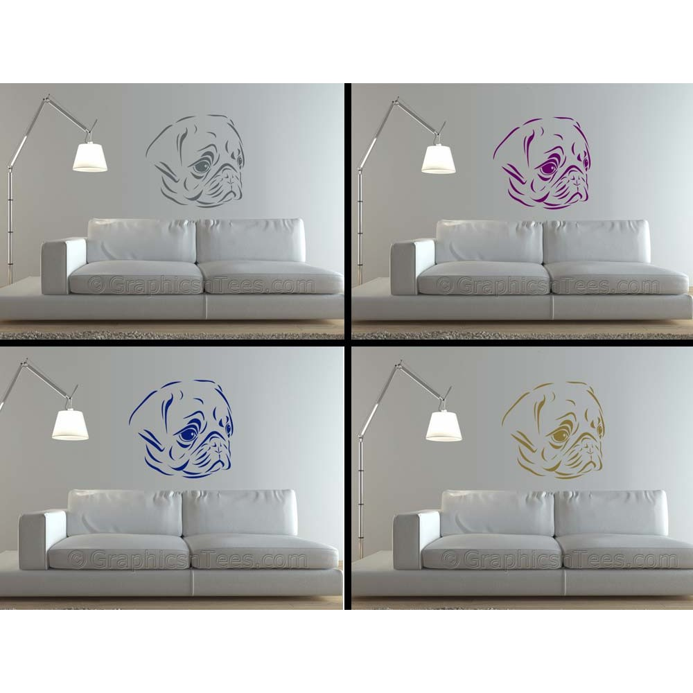 Cute Pug Puppy Dog Wall Sticker Vinyl Mural Decal