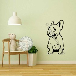 French Bulldog Sticker, Puppy Dog Home  Vinyl Wall Mural Decal Sitting Down