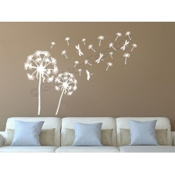 Dandelion Blowing in the Wind Home Wall Mural Sticker Decor Decal With Dragonflies