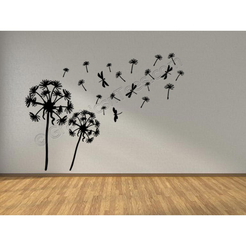Dandelion blowing in the wind home wall mural sticker for Dragonfly mural