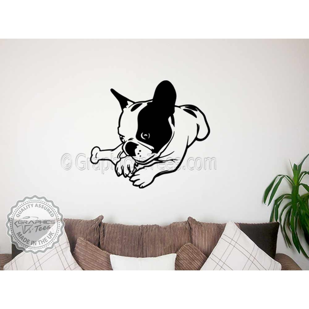 Cute French Bulldog Puppy Lying Down Home Wall Sticker Vinyl Mural Decal  sc 1 st  Tin Fish & Applying Vinyl Decals To Wall - Photos Wall and Door Tinfishclematis.Com