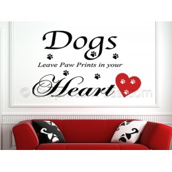 Dogs Leave Paw Prints In Your Heart Wall Sticker Quote, with Red Heart, Pet Wall Sticker Quote