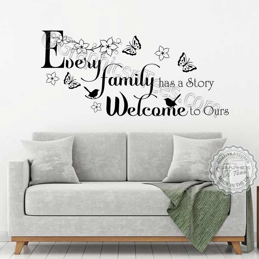 Every Family Has A Story Inspirational Family Wall Sticker Quote Living Room Dining Room Home