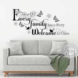 Every Family has a Story Inspirational Family Wall Sticker Quote, Living Room Dining Room Home Vinyl Mural Decor Decal