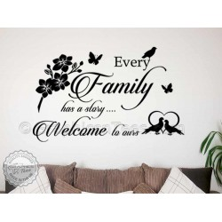 Every Family Story Inspirational Family Wall Sticker Quote, Home Mural Decor Decal