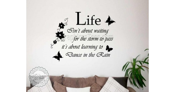 Dance In The Rain Inspirational Family Wall Sticker Motivational Quote Decor  Decal With Flowers And Butterflies