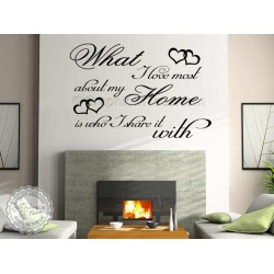 What I Love Most About My Home, Who I Share It With, Inspirational Family Wall Sticker Quote Decor Decal