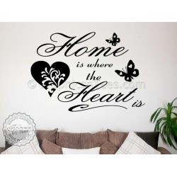 Home is Where The Heart Family Wall Art Sticker Quote Vinyl Decor Decal