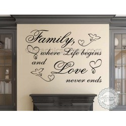 Family Where Life Begins, Love Never Ends, Inspirational Family Wall Sticker Quote Home Decor Decal with Birds and Hearts