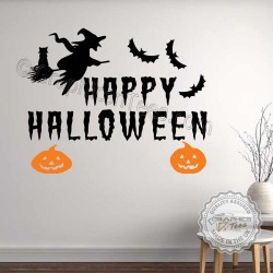 Happy Halloween Wall Stickers Party Decorations with Witch, Bats Pumpkins Window Display