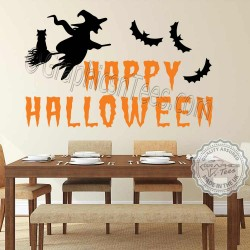 Happy Halloween Wall Stickers Party Decorations with Witch and Cat Window Display