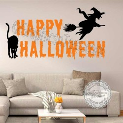 Happy Halloween Wall Stickers Party Decorations with Witch on a Broomstick and Black Cat Window Display