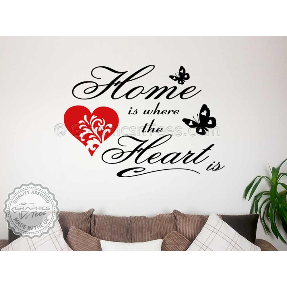 Race Track Wall Art >> Home is Where The Heart Family Wall Art Sticker Quote Vinyl Decor Decal with Red Heart