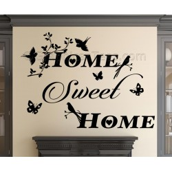 Home Sweet Home Wall Sticker Vinyl Mural Decal with Birds and Butterflies