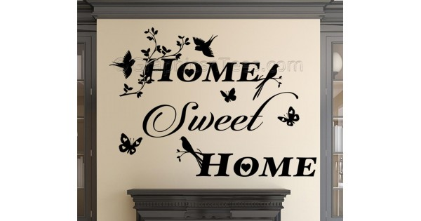 Attractive Home Sweet Home Wall Sticker Vinyl Mural Decal With Birds And Butterflies Awesome Design