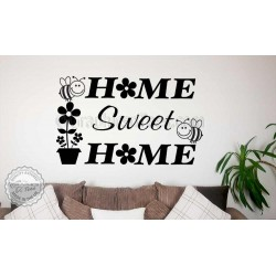 Home Sweet Home Wall Art Sticker Quote Vinyl Decor Decal with Flowers and Bumble Bees