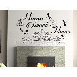 Home Sweet Home Wall Sticker Vinyl Mural Decal with Cute Frogs