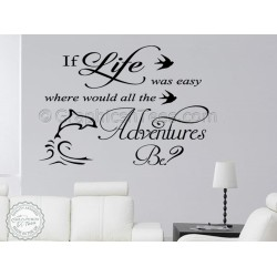Inspriational Wall Quote, If Life Was, Where Would Adventures Be, Motivational Family Wall Sticker Decor Decal