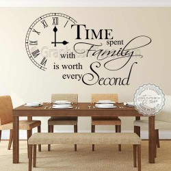 Time Spent with Family Wall Sticker Inspirational Quote, Home Vinyl Wall Art Decor Decal