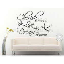 Cherish Live Dream Inspirational Family Wall Sticker Quote, Motiviational Home Wall Decor Decal