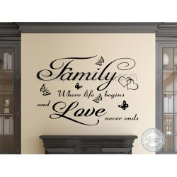 Inspirational Wall Sticker, Family Where Life Begins, Love Never Ends Quote Decor Decal
