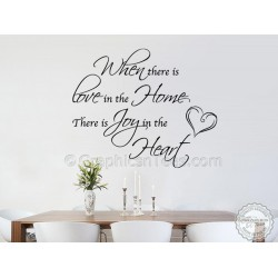 Family Wall Sticker, Love Home Joy In Heart Inspirational Home Decor Decal