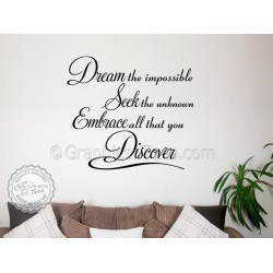 Dream Seek Discover, Inspirational Quote Motivational Wall Decor Decal with Butterfiles
