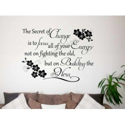 Inspirational Quote, Secret Of Change, Motiviational Wall Sticker Quote, with Orchid Flowers