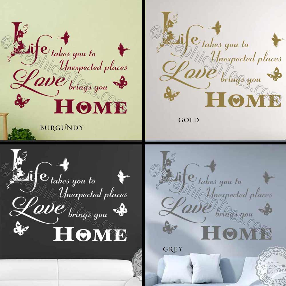 Home Decor Quote: Love Brings You Home Inspirational Family Wall Sticker