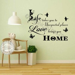 Love Brings You Home Inspirational Family Wall Sticker Quote Home Wall Decor Decal with Birds & Butterflies